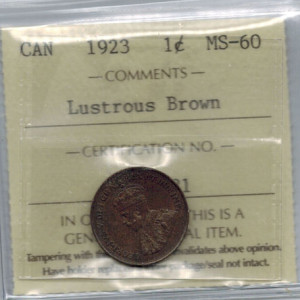 1923 MS60 Lustrous Brown Key Date a 300x300 - 1923 Canada Penny ICCS MS-60 Lustrous Brown - KEY DATE