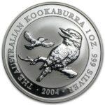 2004 Kookaburra B 150x150 - 2004 Australian Kookaburra 1oz Fine Silver Coin **Extremely Low Mintage of 84,455**