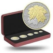 Gilded maple set 185x185 - 2014 Canada Fine Silver Maple Leaf Fractional Set w Gold Plating