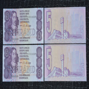 R5 CL Stals 048049 in Sequence 2 note lot 1 1 300x300 - South Africa Crisp Uncirculated R5 Bank Notes C.L Stals - 2 notes in Sequence