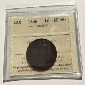 1858 EF40 1 300x300 - 1858 Canada Large Cent ICCS EF-40