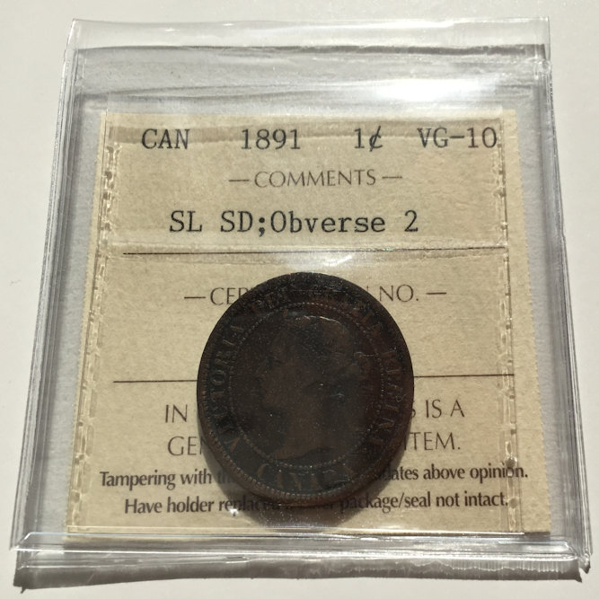 1891 OBV2 SLSD VG10 1 - 1891 canada Large Cent SDSL Obv2 VG-10