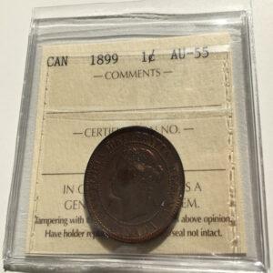 1899 AU55 1 300x300 - 1899 Canada Large Cent ICCS AU-55
