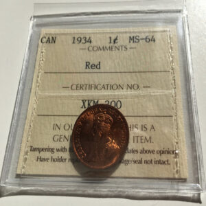 1934 MS64R 1 300x300 - 1934 Canada Penny ICCS Graded MS-64 Red