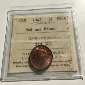1942 MS63 RB 1 300x300 - 1942 Canada 1-cent Penny ICCS Graded MS-63