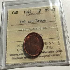 1944 MS63 RB 1 300x300 - 1944 Canada Penny ICCS Graded MS63RB
