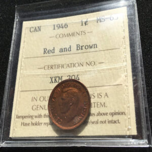 1946 MS63 1 300x300 - 1946 Canada 1-cent Penny ICCS Graded MS-63