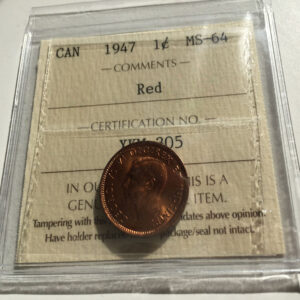 1947 MS64R 1 300x300 - 1947 Canada Penny ICCS Graded MS-64 RED