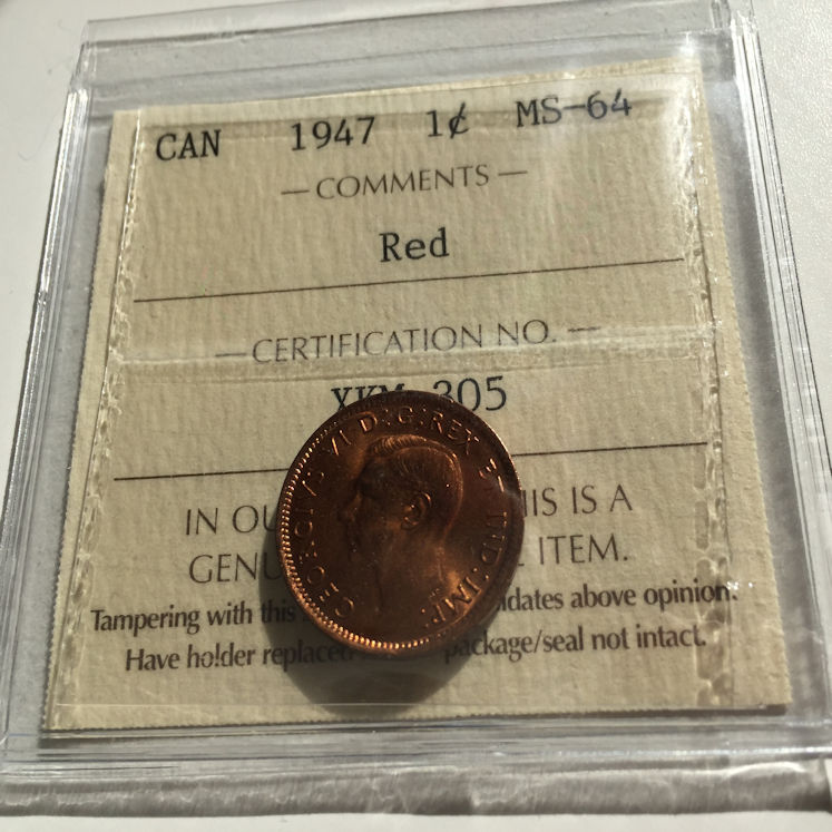 KEY DATE ICCS MS64 RED 1937 Canada Penny Graded