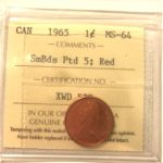 1965 SBP5 MS64 150x150 - 1965 Canadian Penny ICCS MS-64 RED SBP5 (Variety #1)