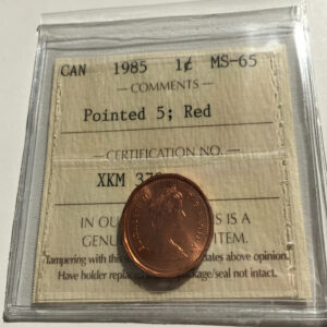 1985 P5 MS65R 1 300x300 - 1985 Canada Penny ICCS MS65 RED POINTED 5