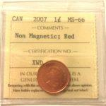 2007 1c MS66 Zinc 150x150 - 2007 Canada Penny ICCS MS66 Red Non Magnetic