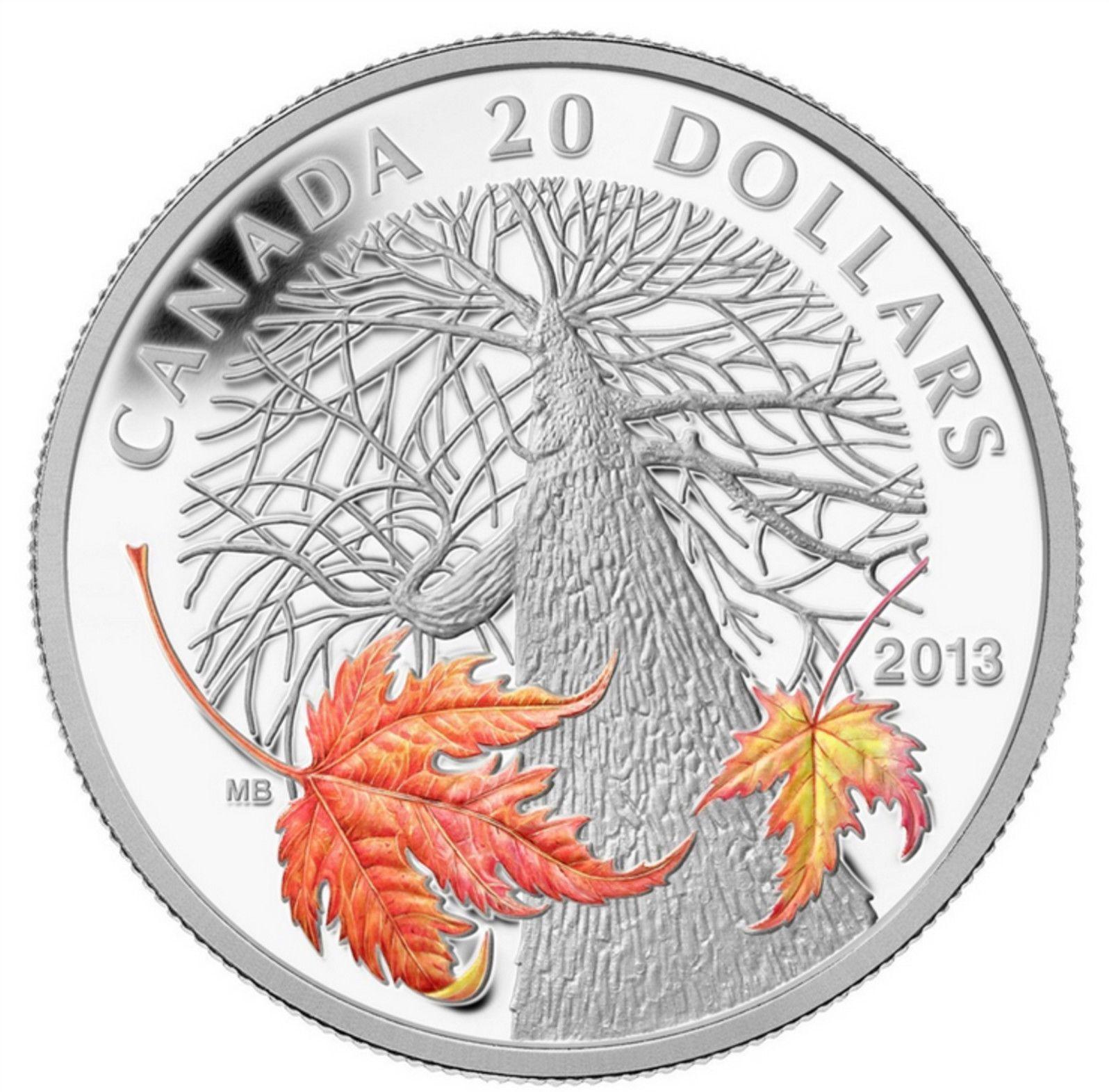 2013 Canada Autumn Maple Canopy B - 2013 Canada $20 Autumn Maple Canopy Silver Coin