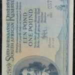 1 Pound UNC De Kock BI190 037859 150x150 - South Africa One Pound (Een Pond) B190 037859 1954 Banknote UNC Condition