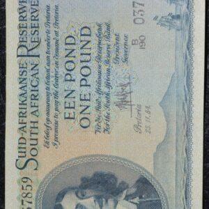 1 Pound UNC De Kock BI190 037859 300x300 - South Africa One Pound (Een Pond) B190 037859 1954 Banknote UNC Condition