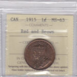 1915 MS63 Penny OBV 150x150 - 1915 Canadian Large Cent ICCS Graded MS63 Red & Brown