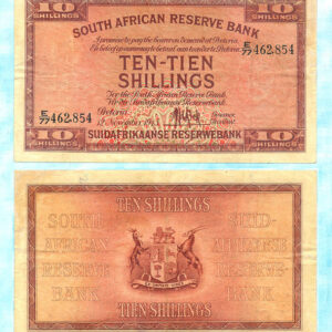 1945 10 Shillings Note 300x300 - South Africa 1945 MH De Kock Ten Shillings E77 462854 F-VF