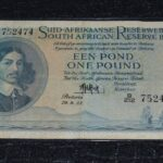 1955 Pound 752474 P319 150x150 - South Africa One Pound (Een Pond) MH De Kock 1955 B212 752474 Banknote Circulated Condition