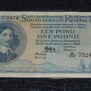 1955 Pound 752474 P319 300x300 - South Africa One Pound (Een Pond) MH De Kock 1955 B212 752474 Banknote Circulated Condition
