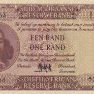1961 UNC Serial AI000063 A 185x185 - South Africa One Rand (Een Rand) A1000063 1961 Banknote UNC Condition - LOW SERIAL NUMBER