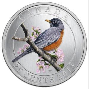 2013 25C AMERICAN ROBIN 300x300 - 2013 Canada 25c American Robin Specimen - Birds of Canada