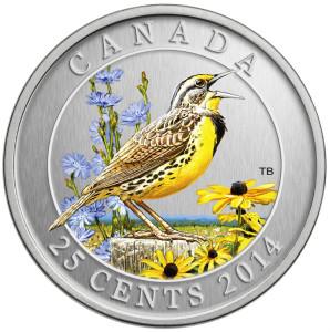 2014 25C EASTERN MEADOWLARK 298x300 - 2014 Canada 25c Eastern Meadowlark Specimen - Birds of Canada
