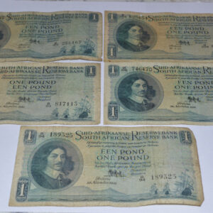 25Sep15 001 01 300x300 - South Africa One Pound (Een Pond) MH De Kock Lot of 5 Banknotes - Heavily Circulated Condition