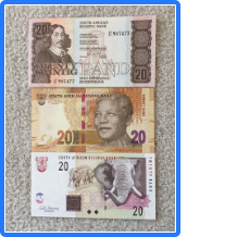 3 Notes B - South Africa Lot of 3 AU-UNC Twenty Rand Banknotes