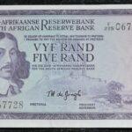 F225 067728 TW De Jongh UNC 150x150 - South Africa Five Rand TW De Jongh F225 067728 Banknote UNC Condition