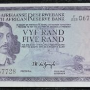 F225 067728 TW De Jongh UNC 185x185 - South Africa Five Rand TW De Jongh F225 067728 Banknote UNC Condition