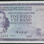 F246 816499 TW De Jongh UNC 150x150 - South Africa Five Rand TW De Jongh 3rd Issue F246 816499 Banknote UNC condition