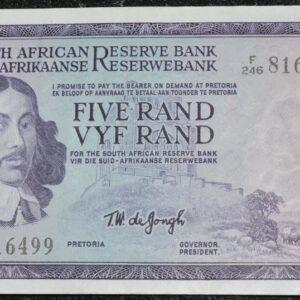 F246 816499 TW De Jongh UNC 300x300 - South Africa Five Rand TW De Jongh 3rd Issue F246 816499 Banknote UNC condition