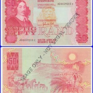 Fifty Rand UNC De Kock AD4439215E 300x300 - South Africa Fifty Rand GPC De Kock 3rd Issue Banknote UNC Condition AD4439215E