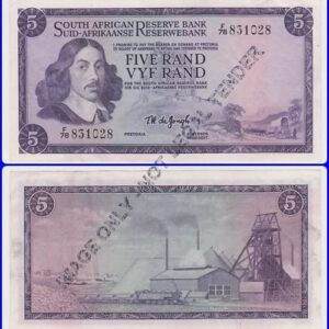 Five Rand De Jongh 1st Issue VFtoXF F78 831028 300x300 - South Africa Five Rand TW De Jongh F78 831028 Banknote Circulated Condition
