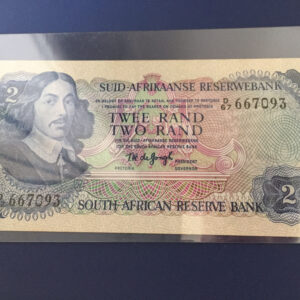 IMG 667093 300x300 - South Africa Two Rand TW De Jongh 2nd Issue D67 667093 Banknote EF condition