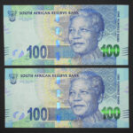 Mandela R100 AA prefix notes B 150x150 - South Africa One Hundred Rand Mandela - 2xUNC Notes in Sequence