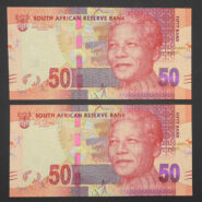 Mandela R50 AA prefix notes B 185x185 - South Africa Fifty Rand Mandela - 2XUNC Notes in Sequence