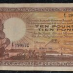 Postmus 10 Pounds F1 298970 A 1 150x150 - South Africa Ten Pounds (Tien Pond) F1 298970 Postmus 14 April 1943 large Banknote in VF Condition