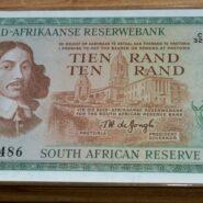 R10 1975 XF 185x185 - South Africa Ten Rand TW de Jongh EF-AU Banknote C324 368486