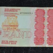 R50 UNC G De Kock AF7288501E to 504E A 185x185 - South Africa Fifty Rand GPC De Kock Banknote Lot AU-UNC Condition - 4 Notes in Sequence