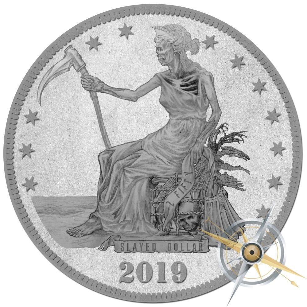 Slayed Dollar - 2019 Zombucks Slayed Dollar 1oz Fine Silver Round