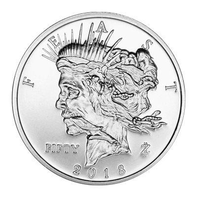 Zombucks Feast Dollar A - 2018 Zombucks Feast Dollar 1oz Fine Silver Round