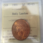 1901 MS65 RED LANDON 150x150 - 1901 Canadian Large Cent Penny ICCS Graded MS-65 RED
