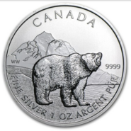 2011 5 GRIZZLY 1OZ PURE SILVER COIN FRONT 185x185 - 2011 Canda $5 Grizzly 1oz Pure Silver Coin