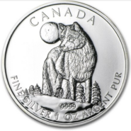 2011 5 WOLF 1OZ PURE SILVER COIN FRONT 185x185 - 2011 Canada $5 Wolf 1oz Pure Silver Coin