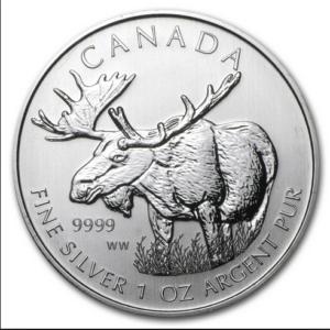 2012 5 MOOSE 1OZ PURE SILVER COIN FRONT 300x300 - 2012 $5 Canada Moose 1oz Pure Silver Coin