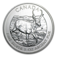 2013 5 PRONGHORN ANTELOPE 1OZ PURE SILVER COIN FRONT 185x185 - 2013 Canada $5 Pronghorn Antelope 1oz Pure Silver Coin