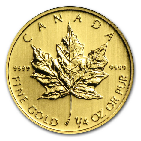 2013 MAPLE LEAF 1 4oz 0.999 FINE GOLD Front - 2013 MAPLE LEAF 1/4oz 0.999 FINE GOLD