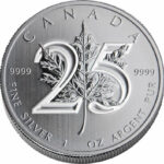 25th Anniversary Maple C 1 150x150 - 2013 $5 Canada Maple Leaf 25th Anniv. 1oz .9999 BU Silver Coin
