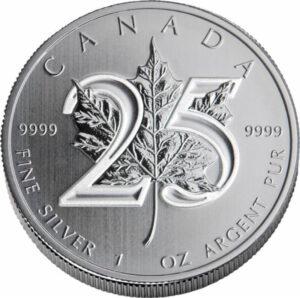 25th Anniversary Maple C 1 300x298 - 2013 $5 Canada Maple Leaf 25th Anniv. 1oz .9999 BU Silver Coin